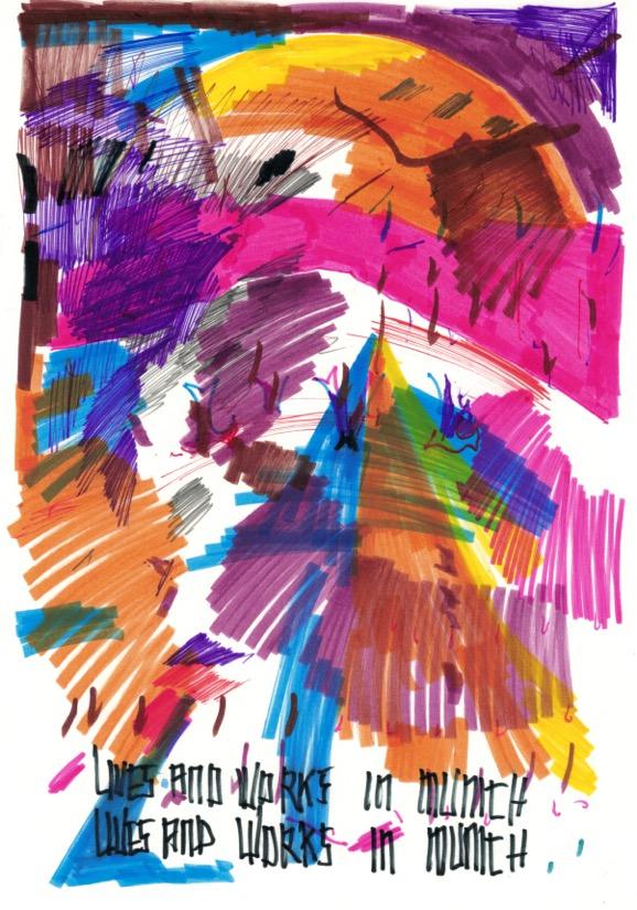 Carsten Fock: ohne Titel, Öl- und Filzstift auf Papier, 29 x 21 cm, 2016